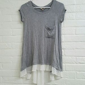 Anthropologie Gray Bordeaux Top